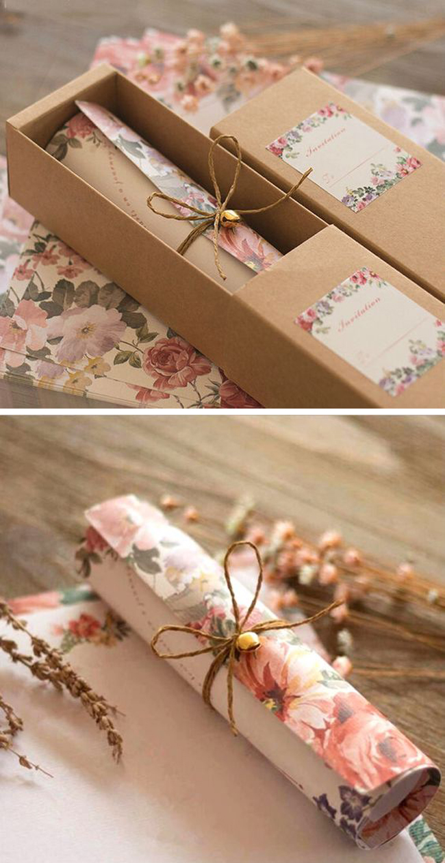 super romantic rustic wedding invitation ideas with lovely favor boxes