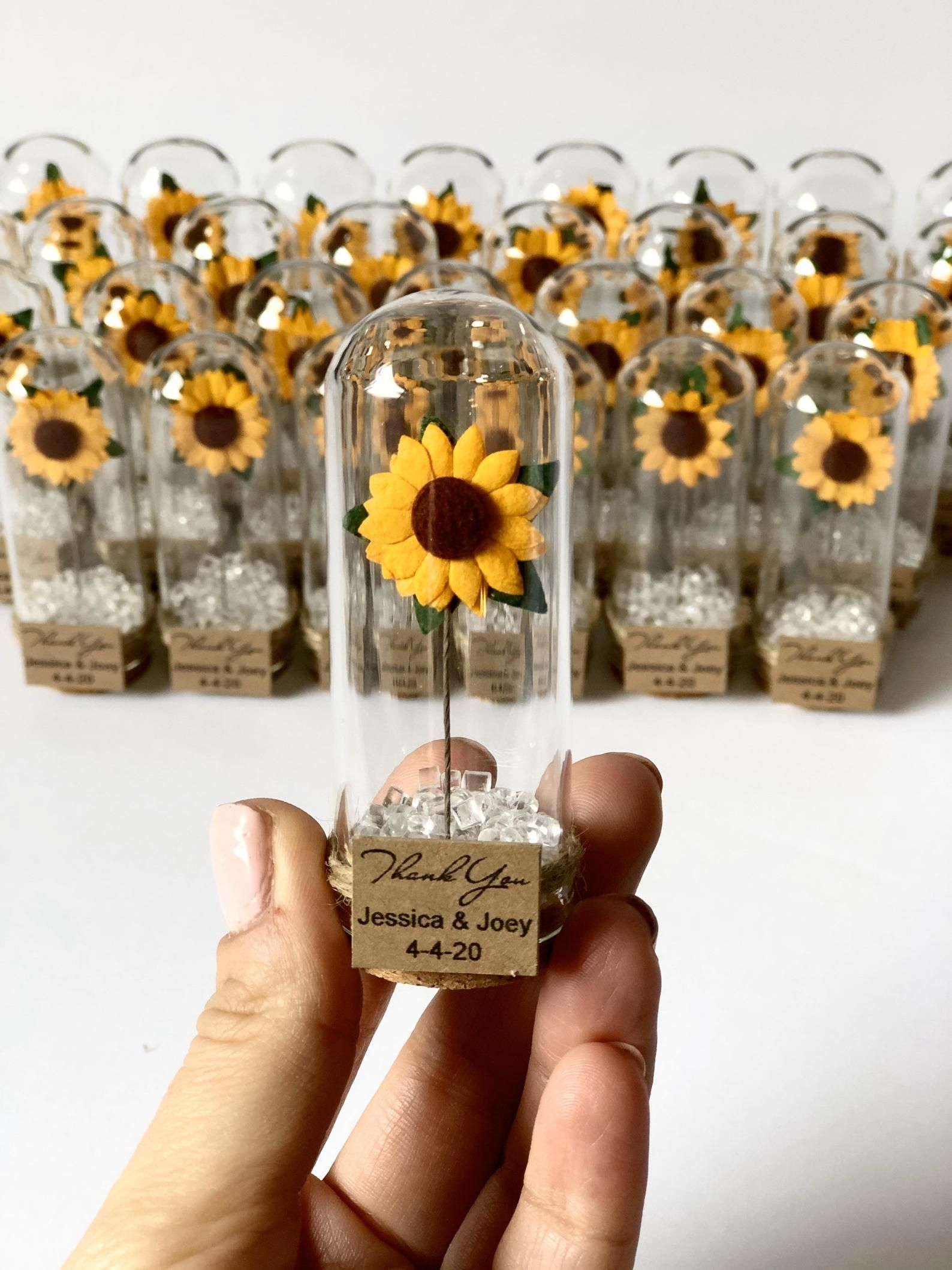 sweet sunflower wedding favors for guests