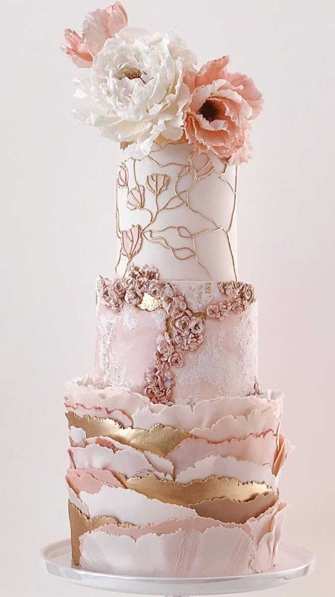 the most beautiful wedding cakes luxury wedding cake with rose gold accents