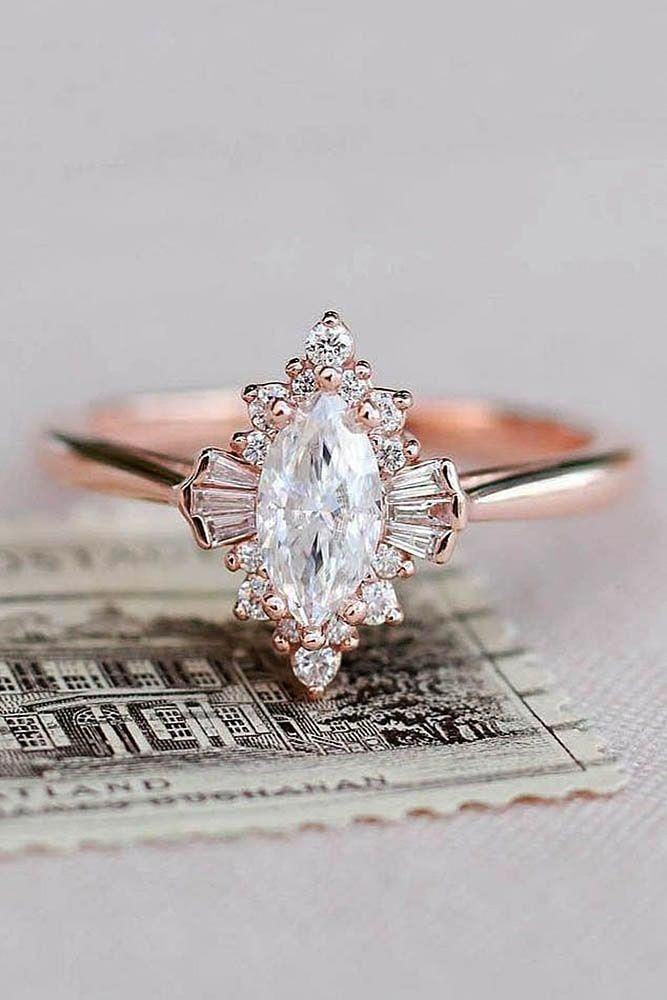 top engagement trends rose gold rings unique marquise cut halo