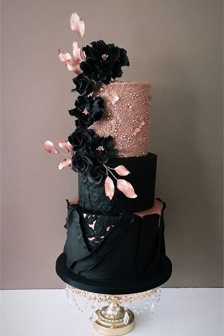 top wedding cake ideas with rose gold and black