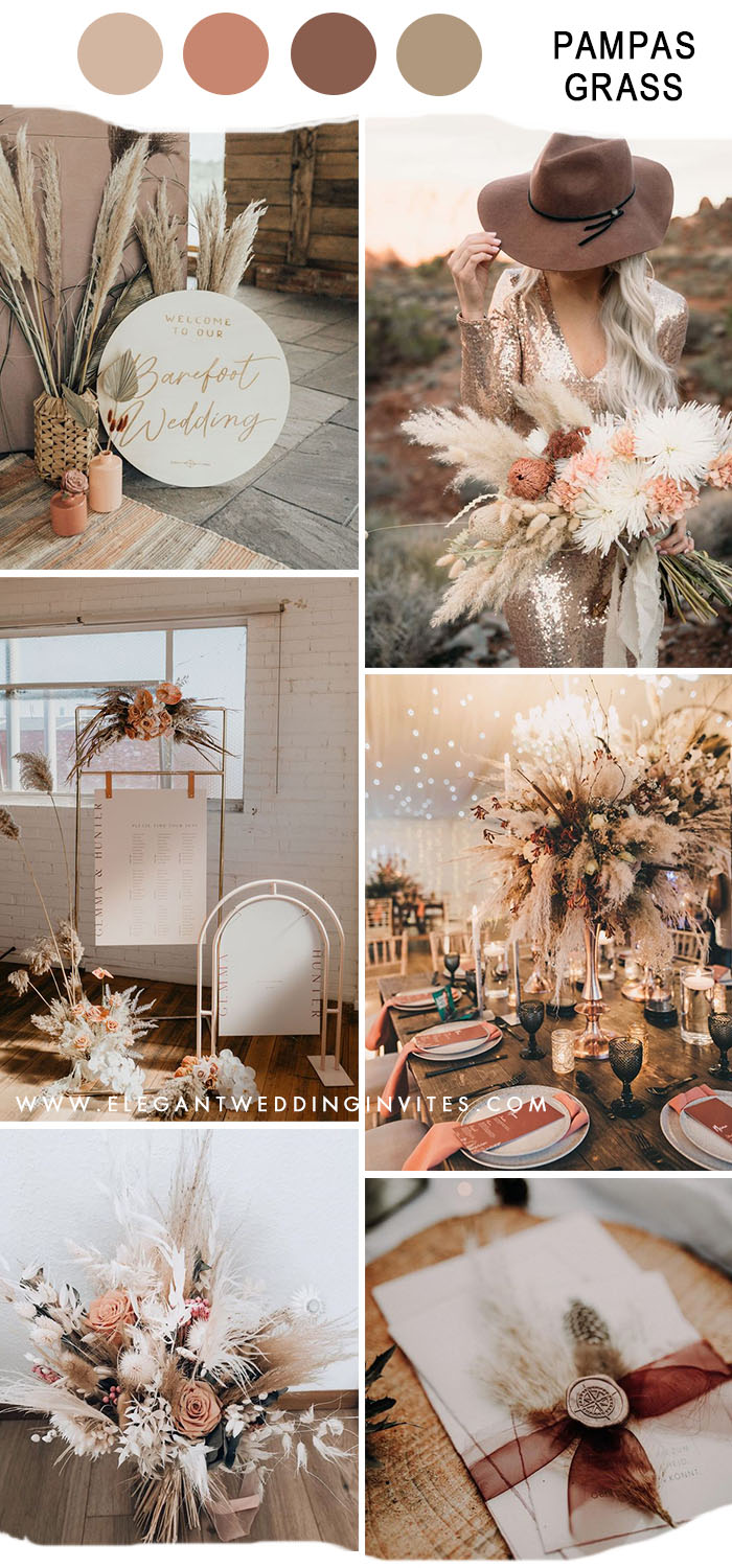 trending pampas grass bohemian fall wedding colors with blush shade