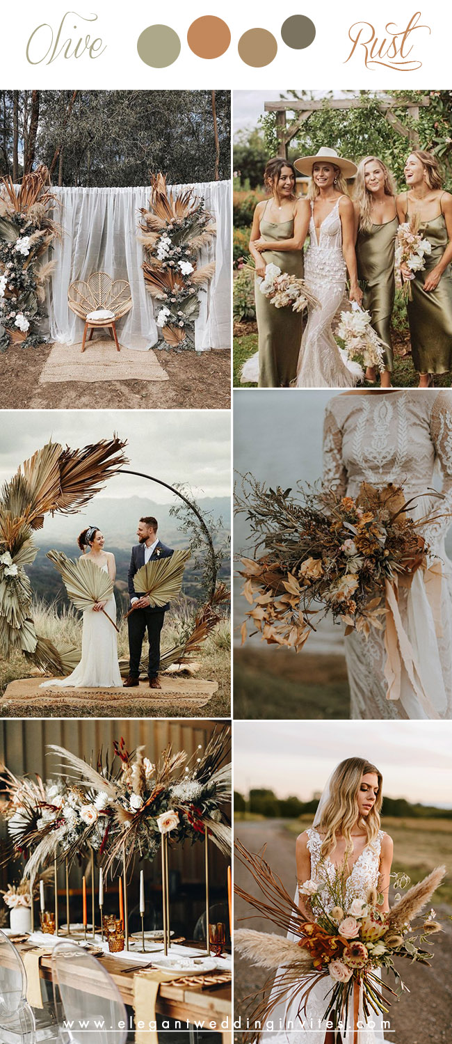 washed olive green and rust earthy tone neutral fall wedding colors