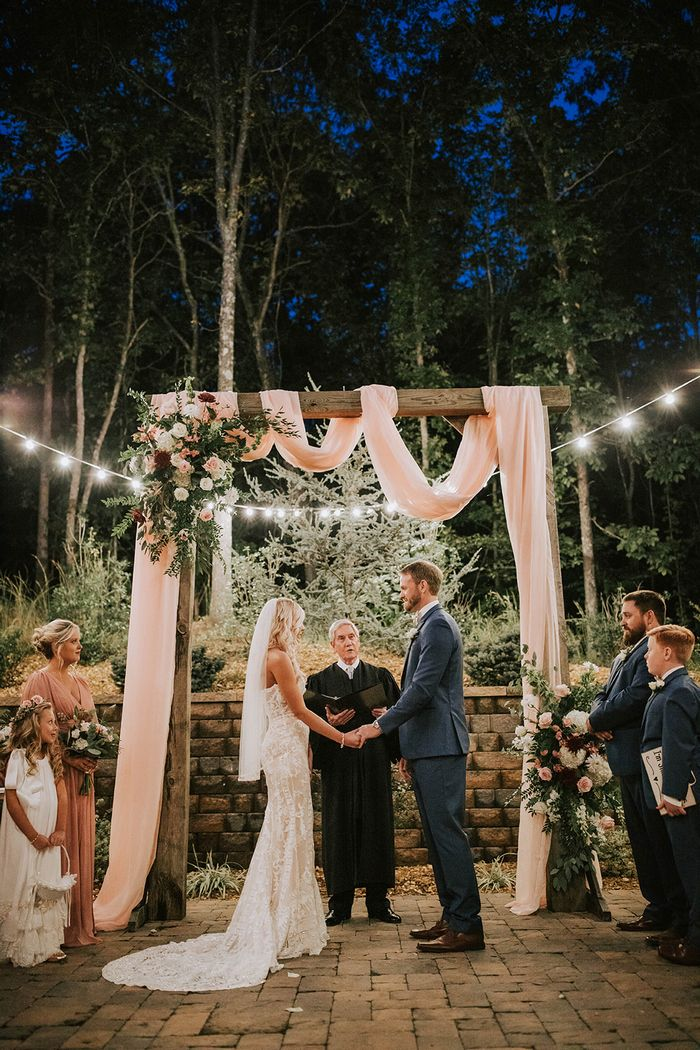 A Real Small Intimate Weddings Arch with rustic wooden ideas