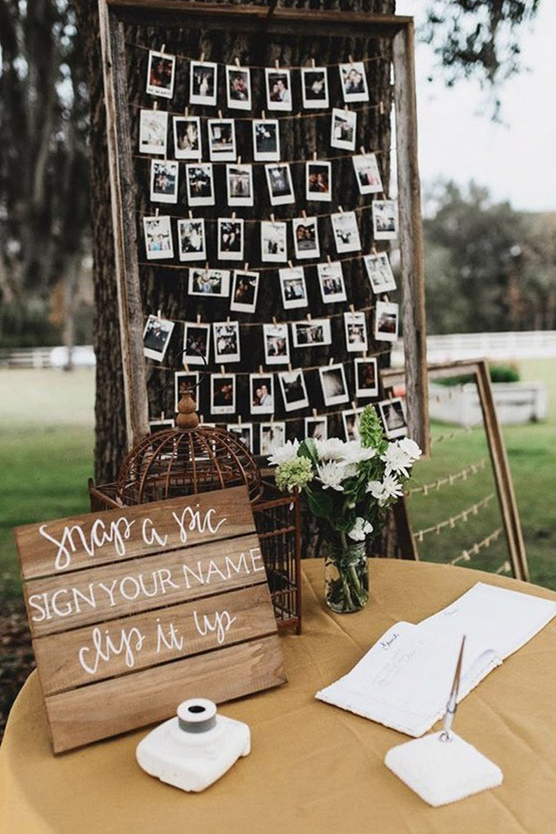 DIY wedding guest book with photos and polaroid wedding guest book ideas