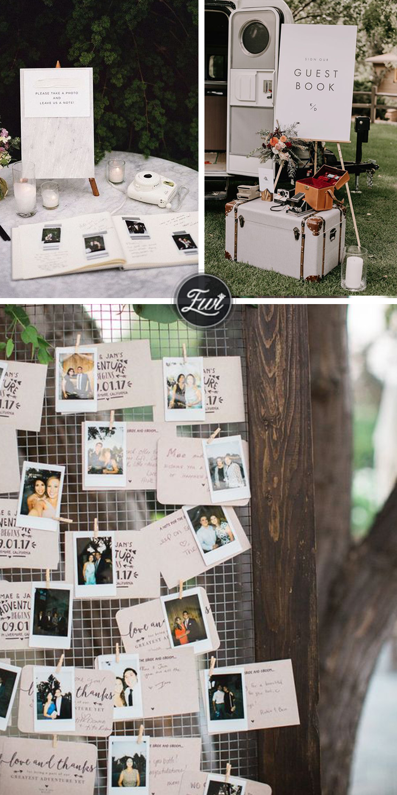 DIY wedding guest book with photos and polaroid wedding guest book