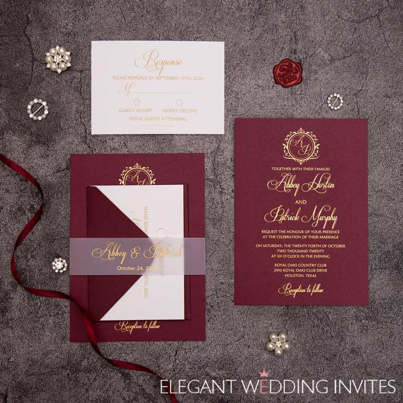 Merlot burgundy invitations with foil print and translucent vellum belly band EWI450