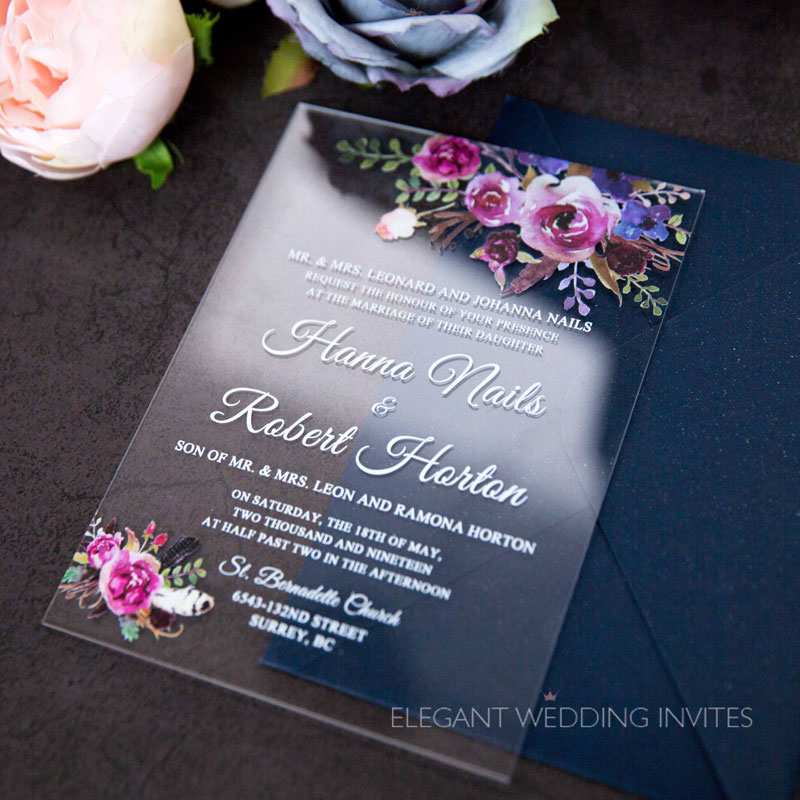 boho blush floral Acrylic wedding invitation thickness 2mm with UV printing