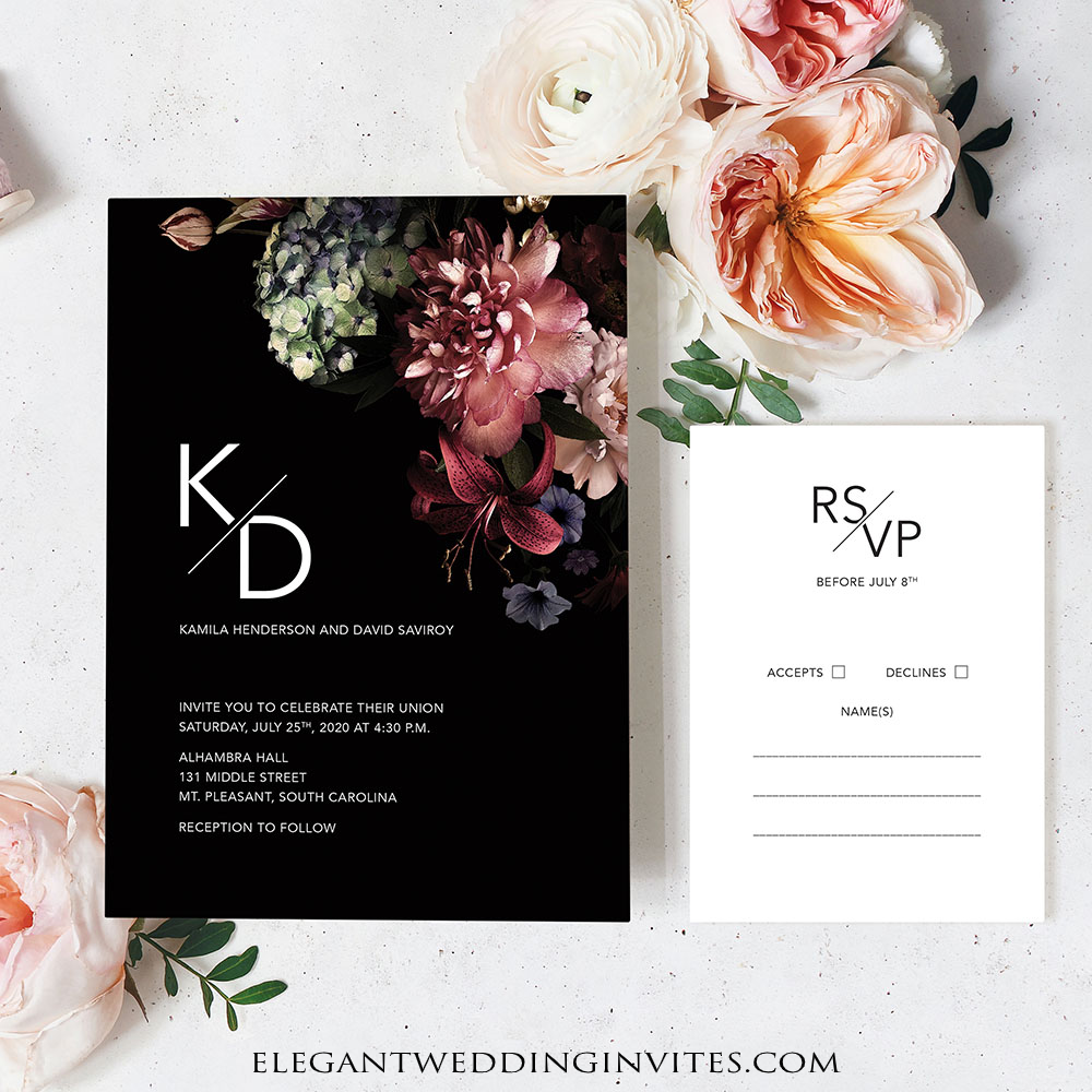 Romantic floral and black background wedding invitation