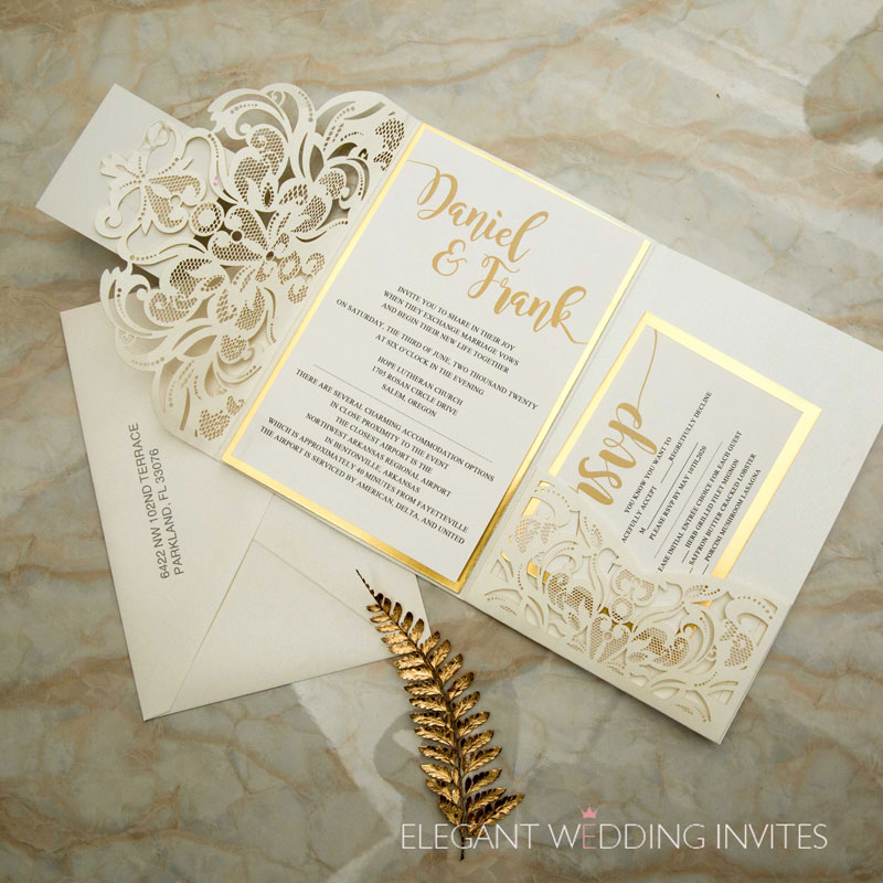 ivory laser cut pocket fold with modern invitation set on a mirrored backer with personalized tag for finishing EWWS264