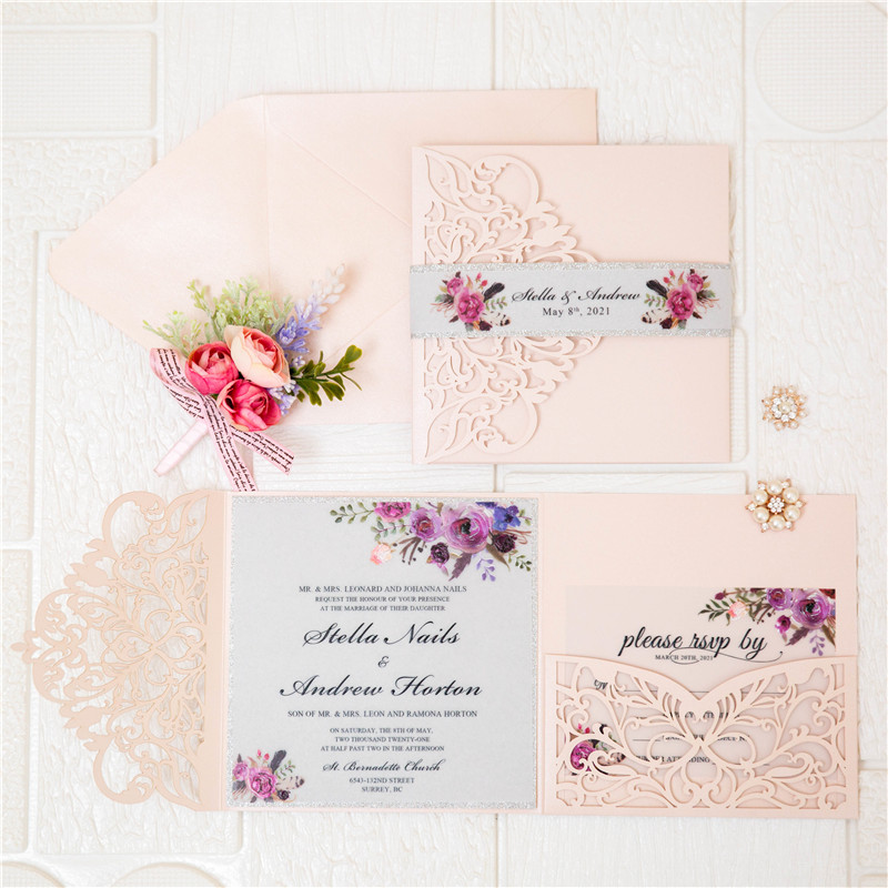 pink laser cut wedding invitations with pink and purple floral invitation on vellum paper EWWS280