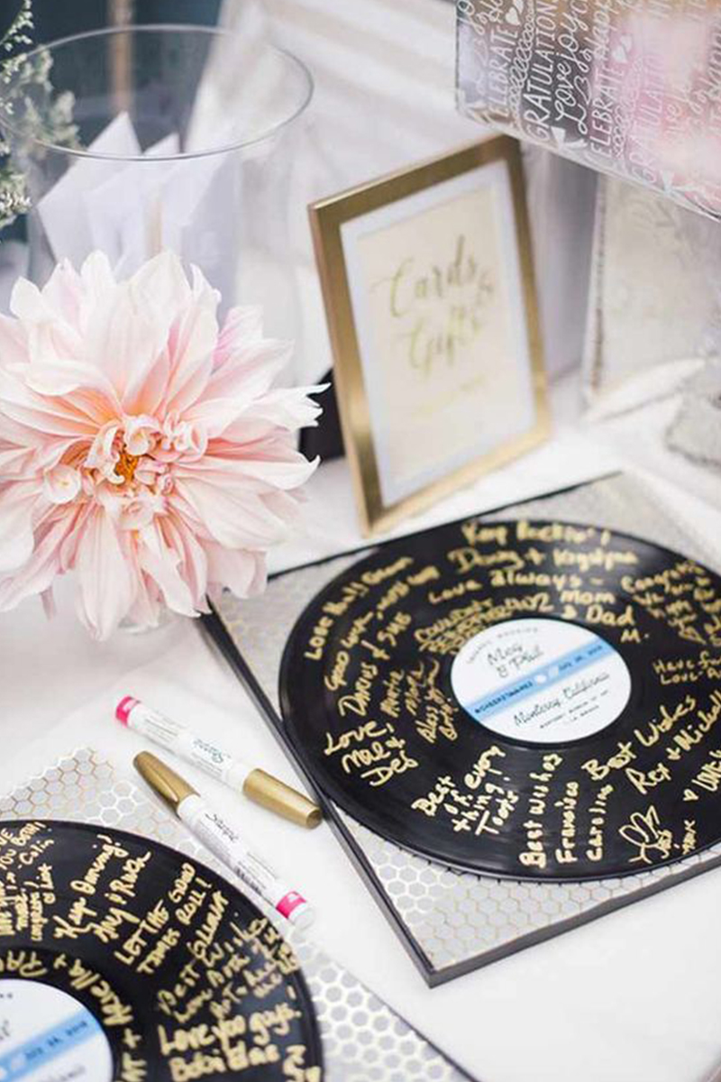 Vintage Record Wedding Guest Books