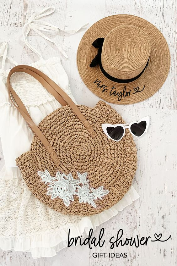 adorable bridal shower gift ideas with personalized sun hat