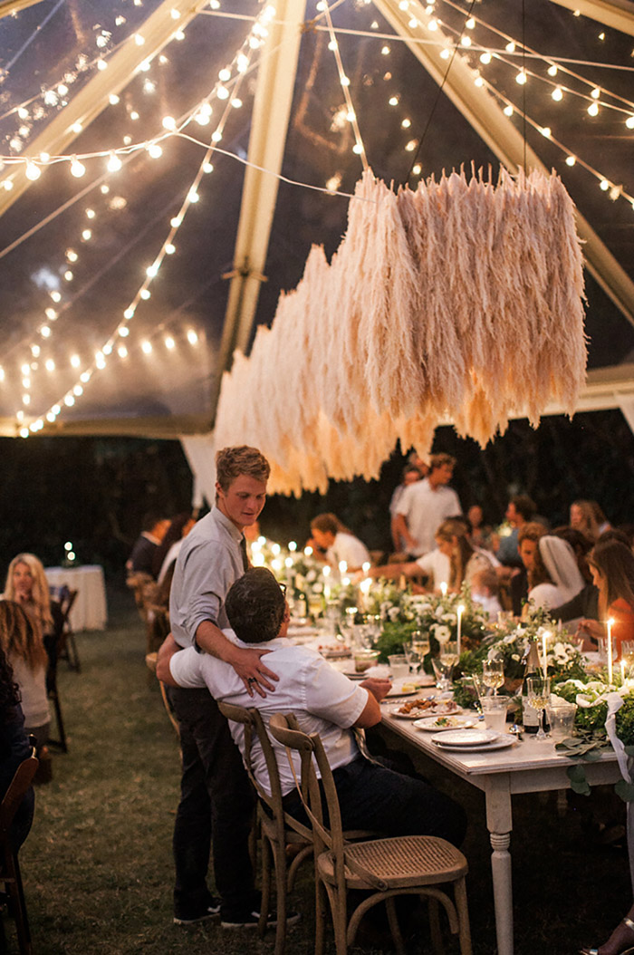 amazing pampas grass wedding chandelier for reception party