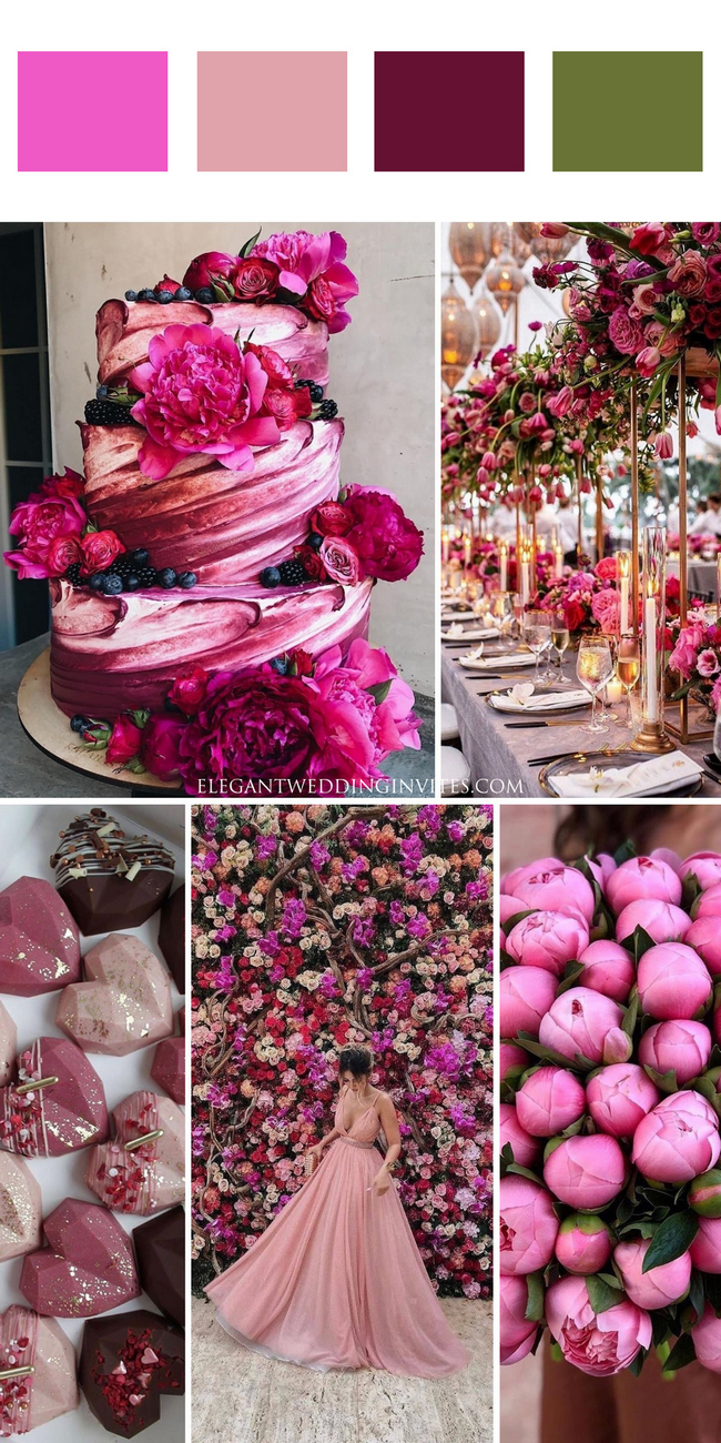 best neon purple and blush pink cake ideas for your fall wedding