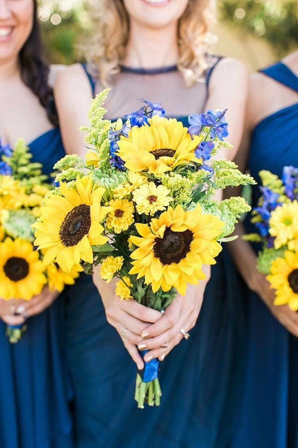 blue and sunflower wedding colors