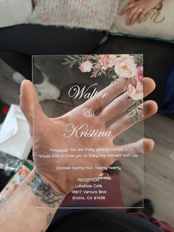 boho inspired floral clear acrylic wedding invitation