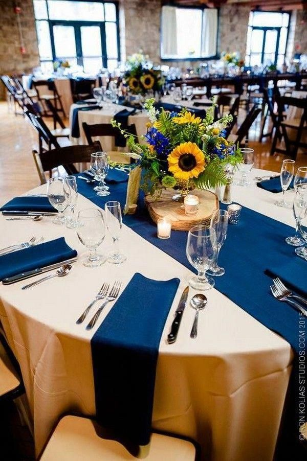 bold sunflower and classic blue rustic wedding centerpieces