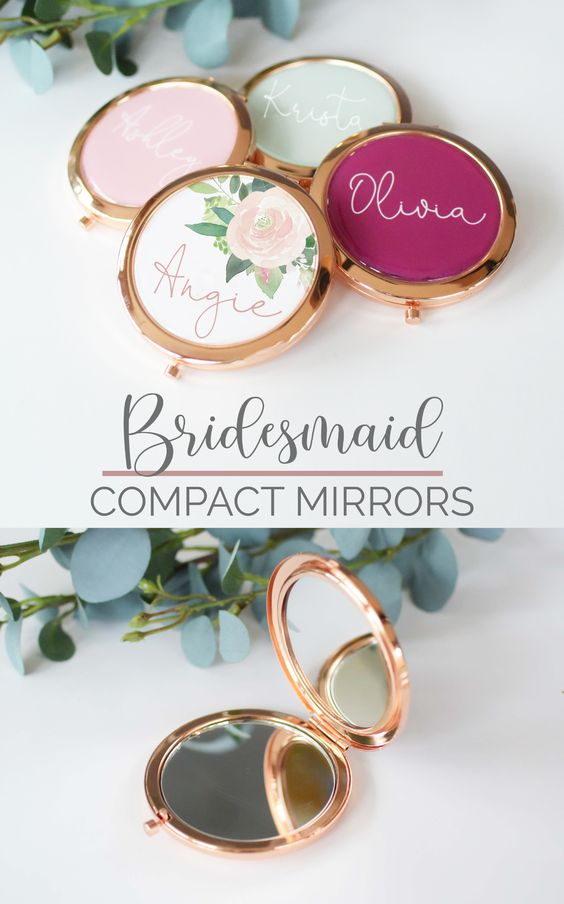 bridal shower gift ideas personalized mirror compacts for bridasmaids