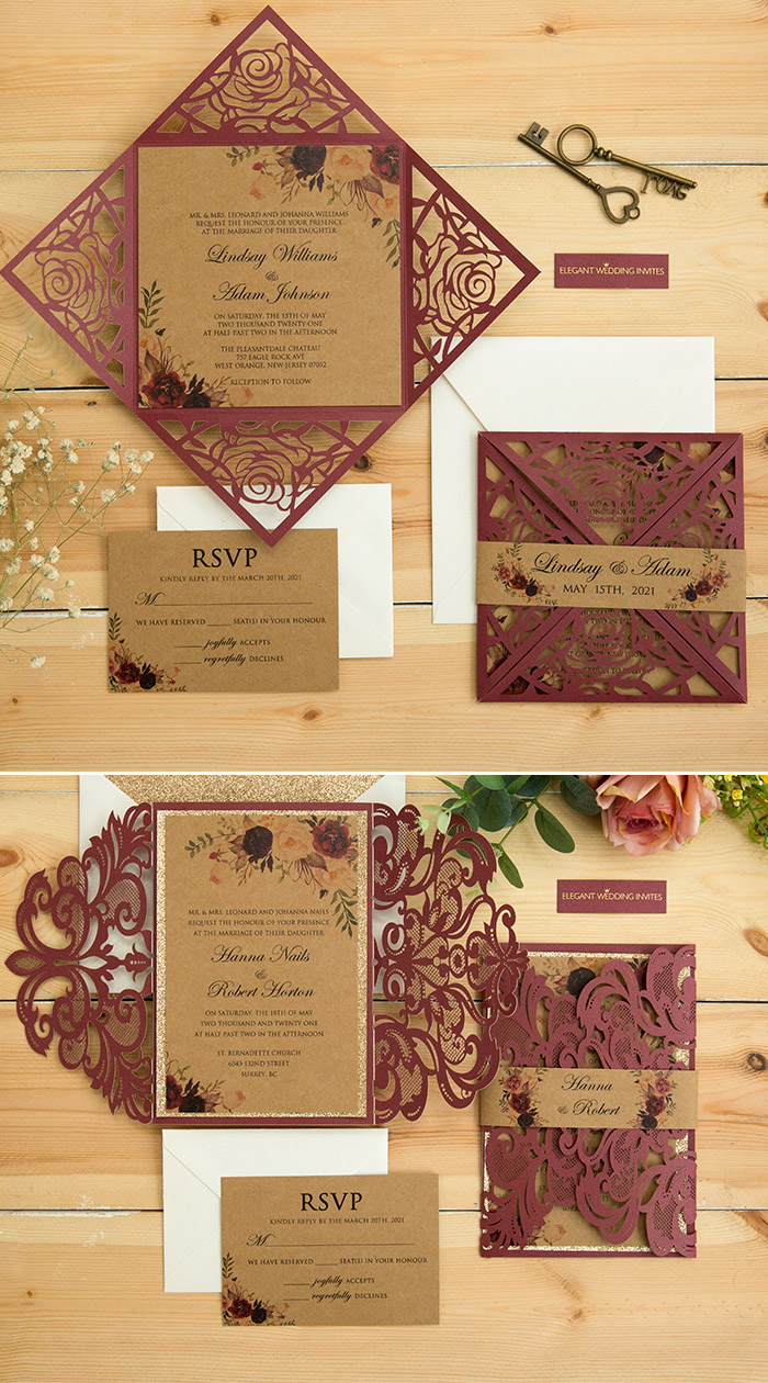 burgundy and flowers laser cut fall wedding invitation