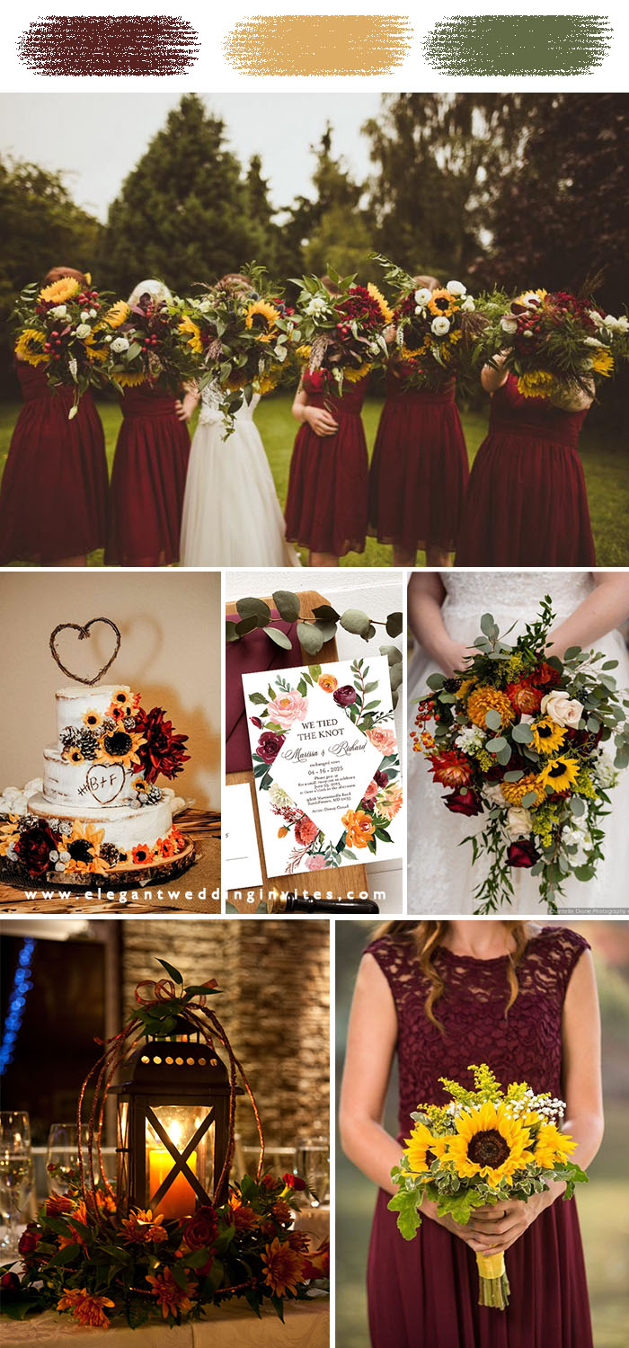 burgundy & sunflower fall wedding color inspiration on a budget