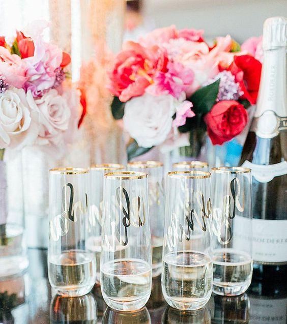 champagne flutes with initial names for bridemaids at bridal shower