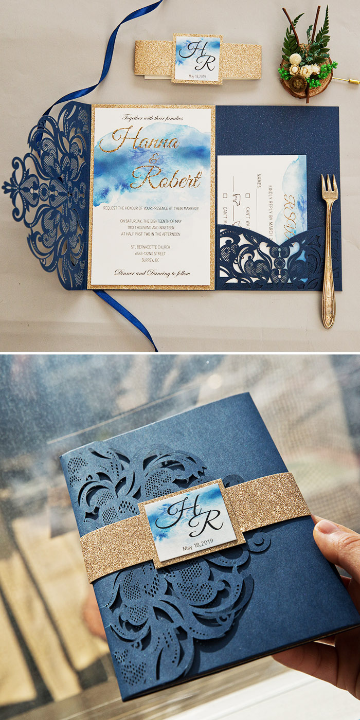classic blue and glitter gold pocket wedding invitations