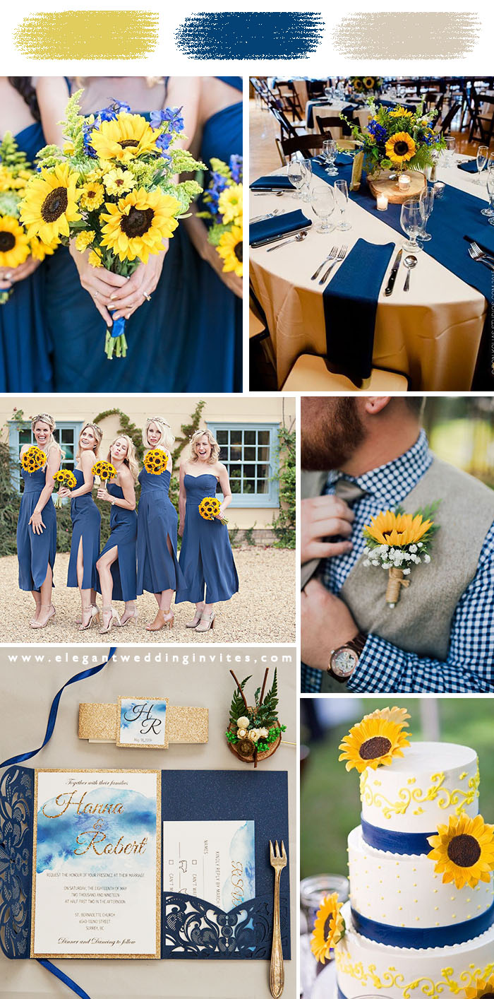 classic blue and yellow simple rustic sunflower wedding color palette