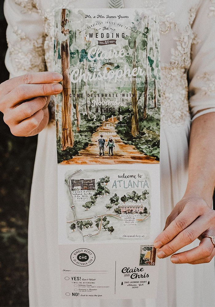 creative all in one woodland inspired rustic elopemt wedding invitation
