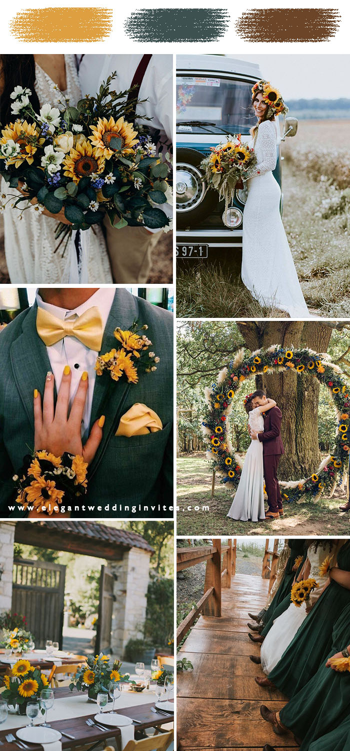 dark forest green and sunflower moody fall and winter wedding theme