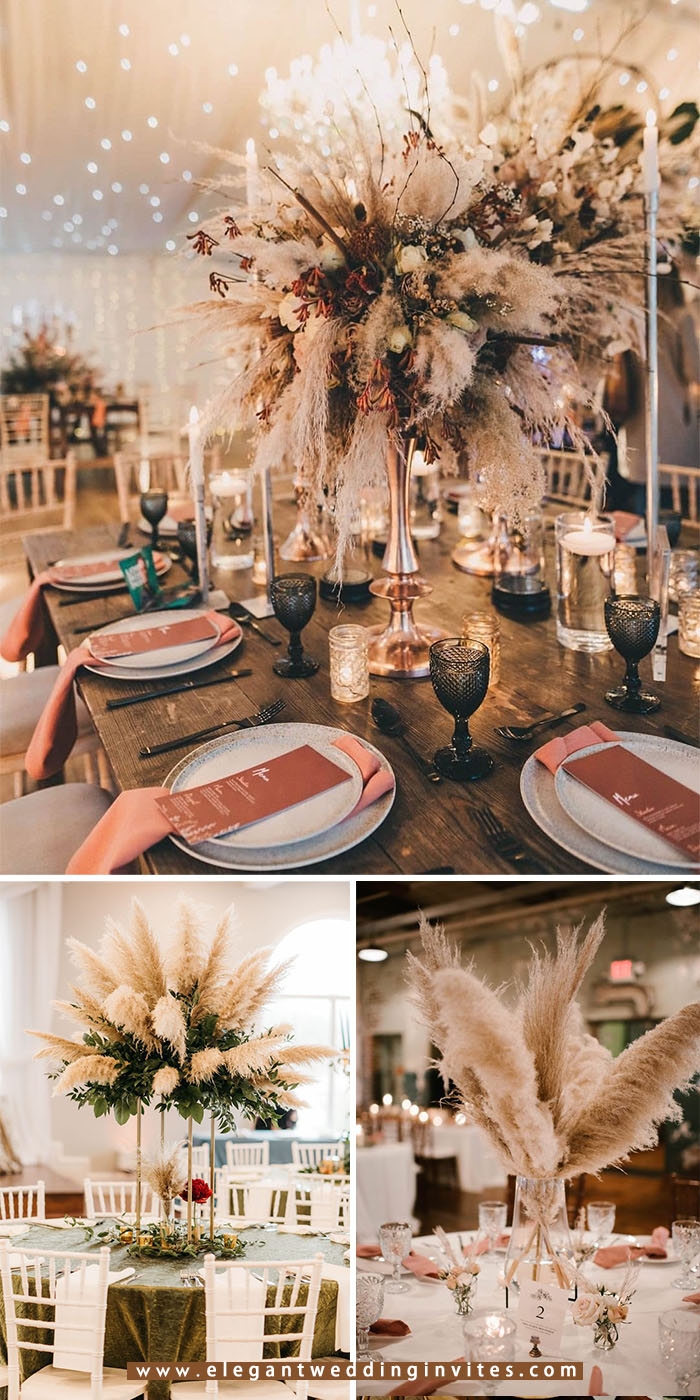 dramatic pampas grass tall wedding centerpiece for latest wedding trends
