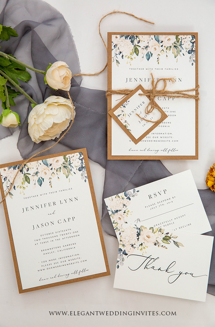 elegant rustic sage green wedding invitation card suite with tag and twines