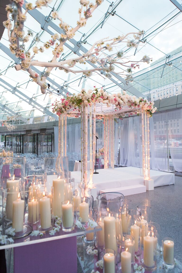 enchanted blossom fairytale wedding arch ideas with clear acrylic and lights