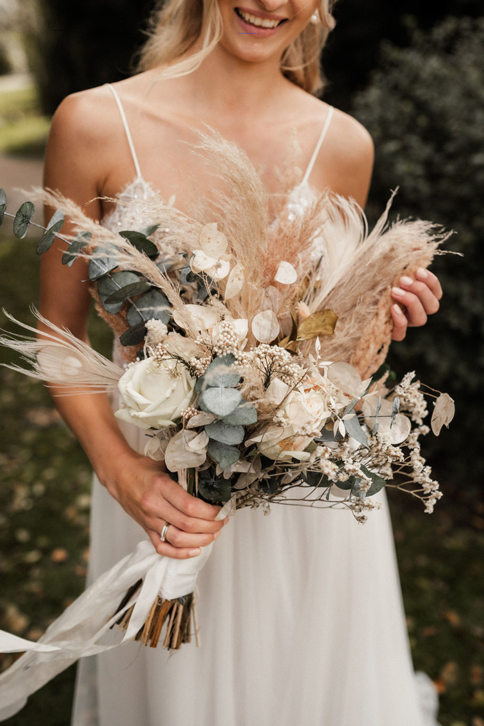 eucalyptus and pampas grass boho style wedding bouquets