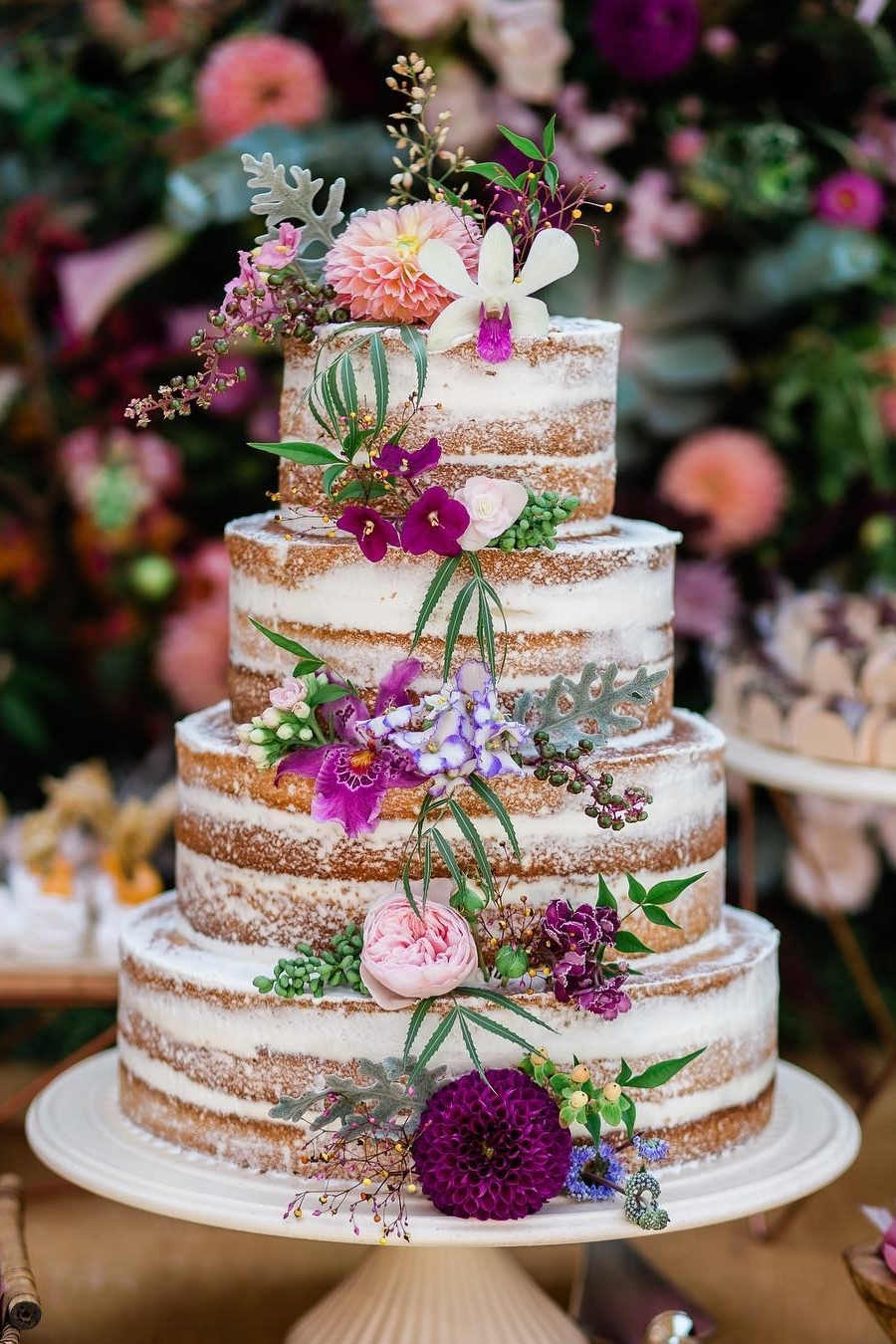fall rustic wedding cake ideas with floral decor
