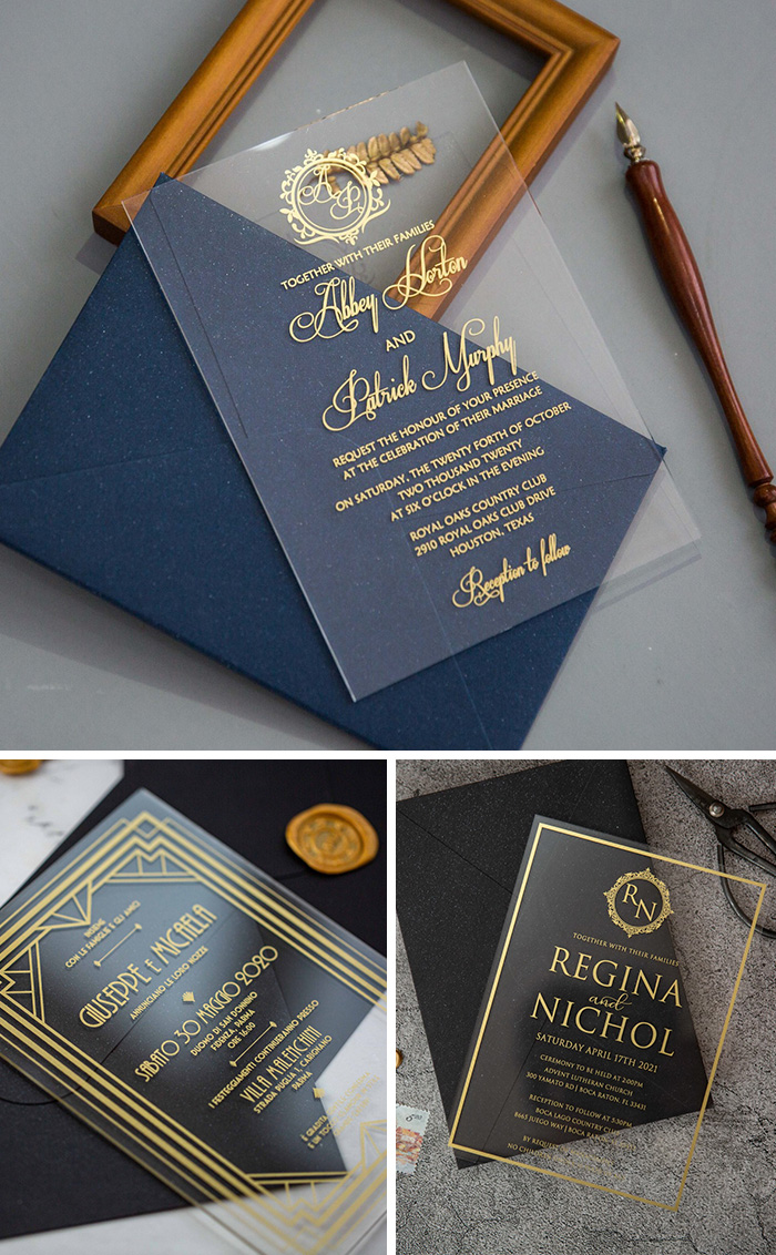 gold printing bordered and monogram acrylic wedding invitations for a glamoour theme