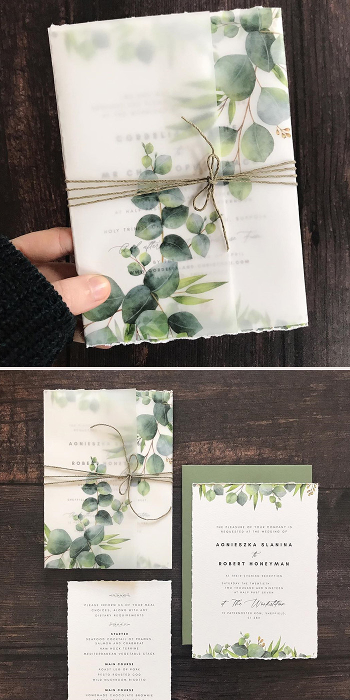 green eucalyptus leaves vellum wedding invitation kits