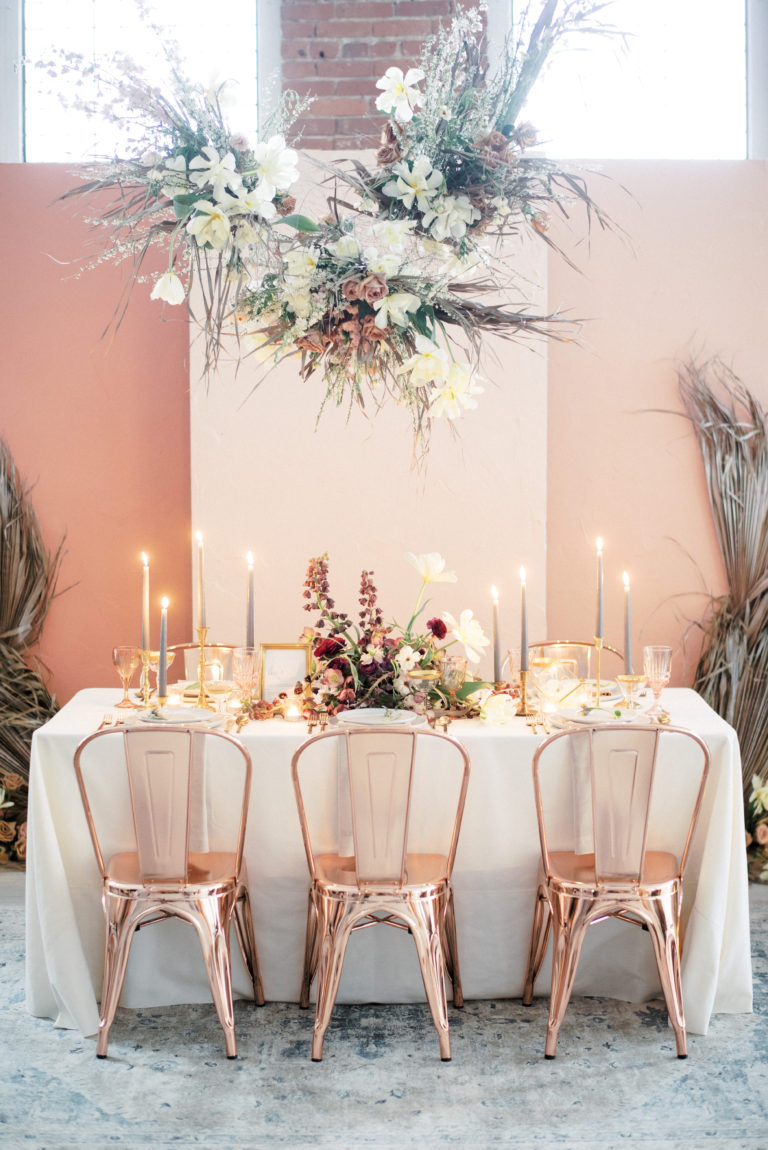 hanging dried flower modern wedding reception decor ideas