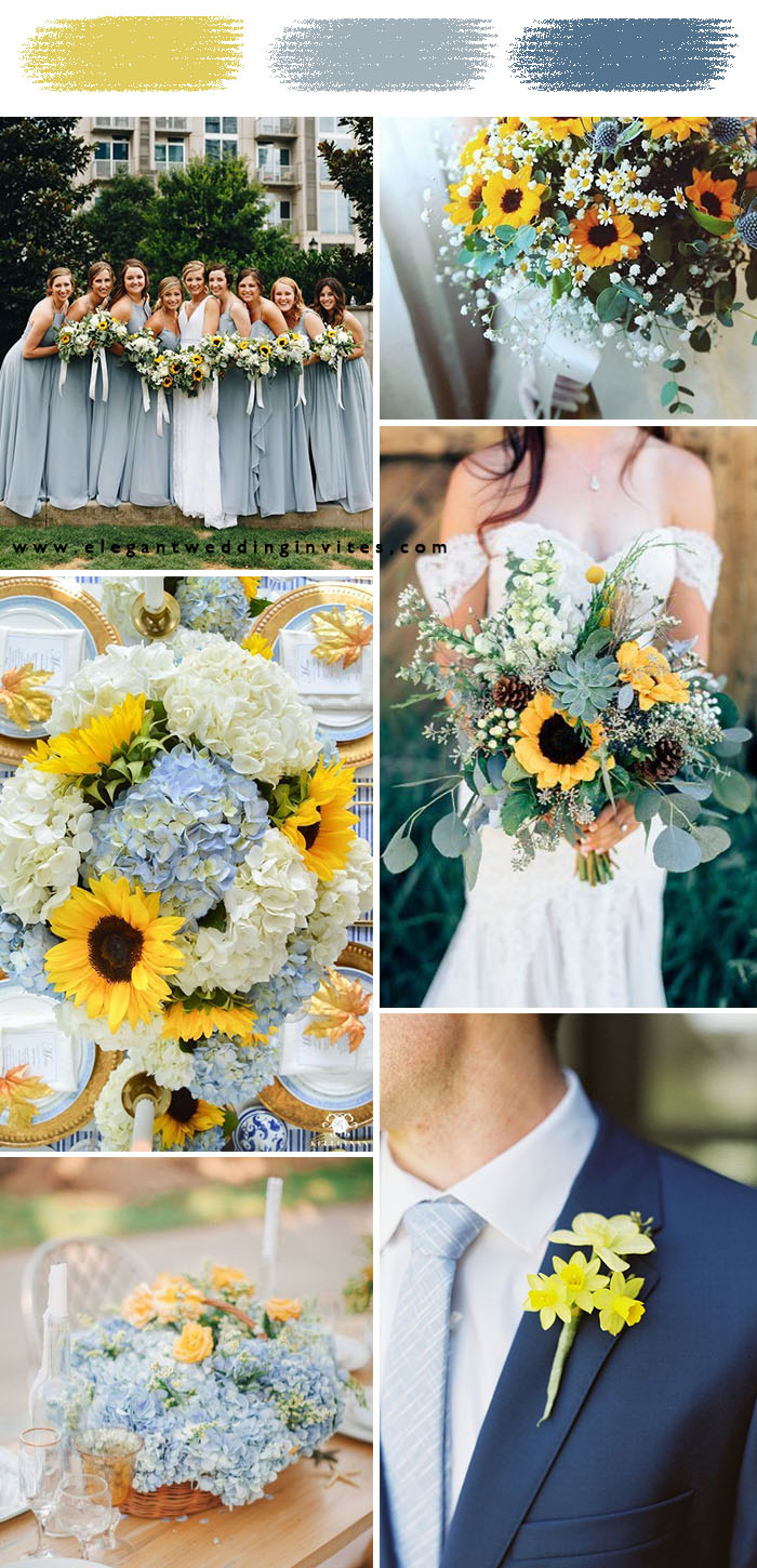 light blue and sunflower yellow spring and summer wedding colors