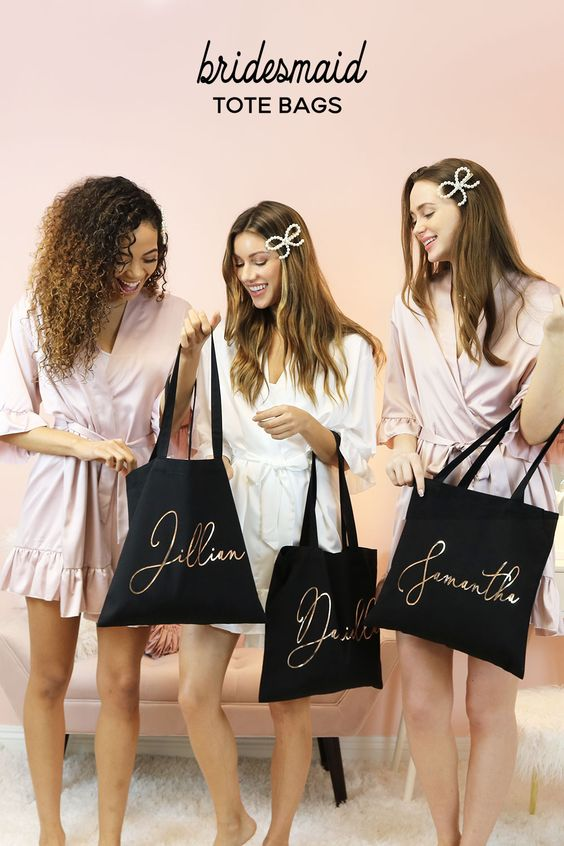 lovely bridesmaid tote bags for bridal shower gift ideas