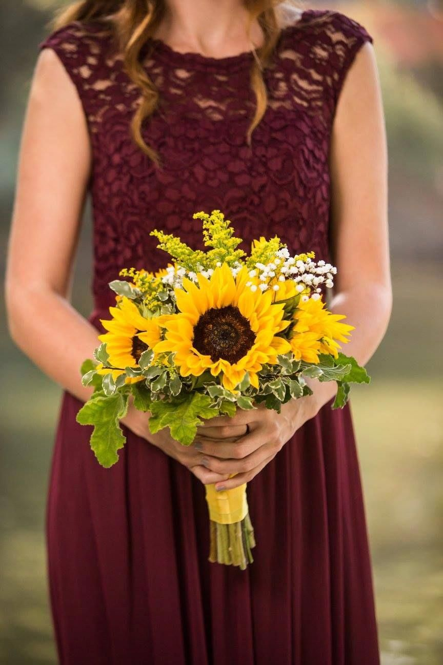 maroon burgundy bridesmaid dresses with sunflower bouquets