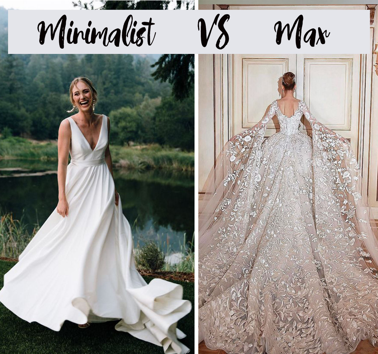 minimalist vs max wedding dress