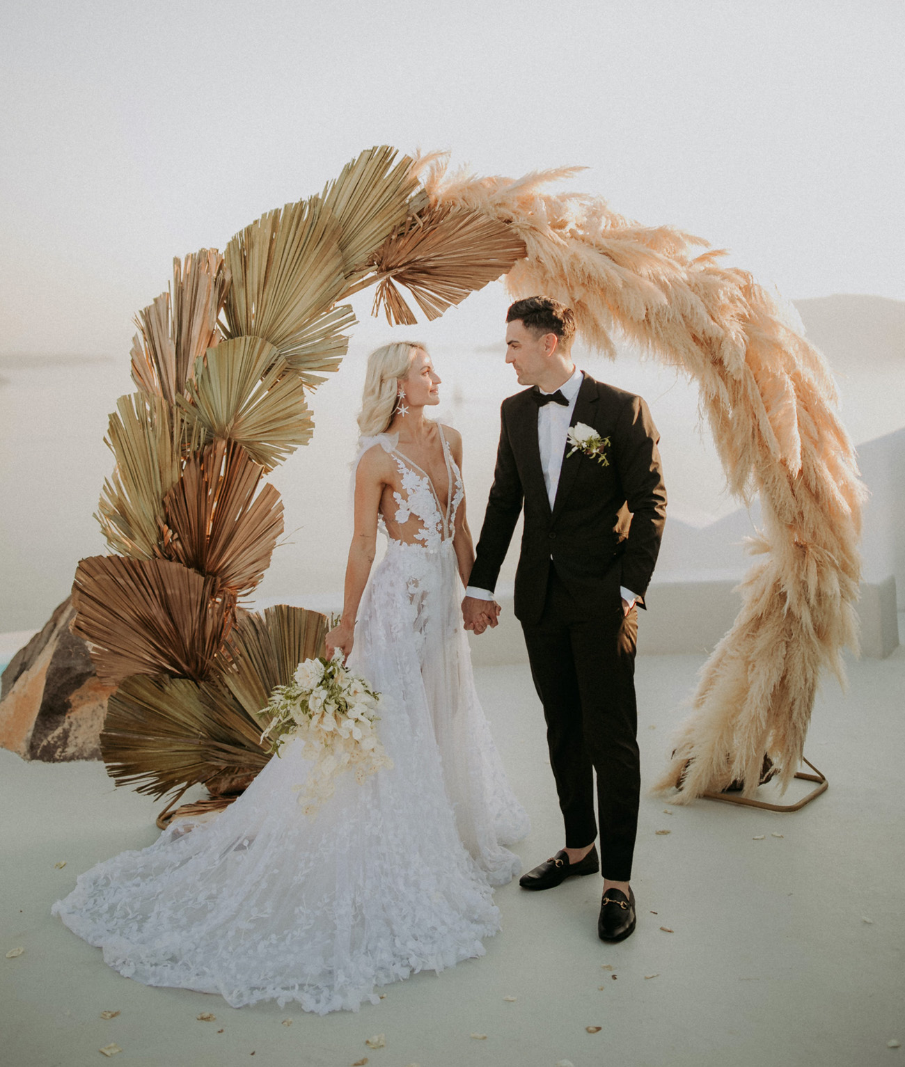 palm and pampass backdrop for a elopement destination wedding