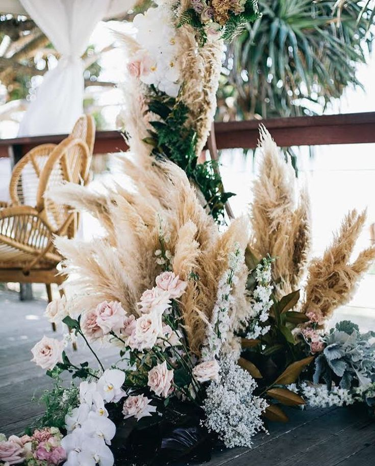 pampas grass floral arrangement wedding ideas