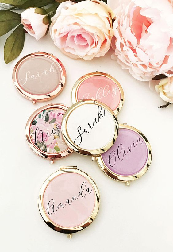 personalized bridesmaids mirror compacts for bridal shower gift