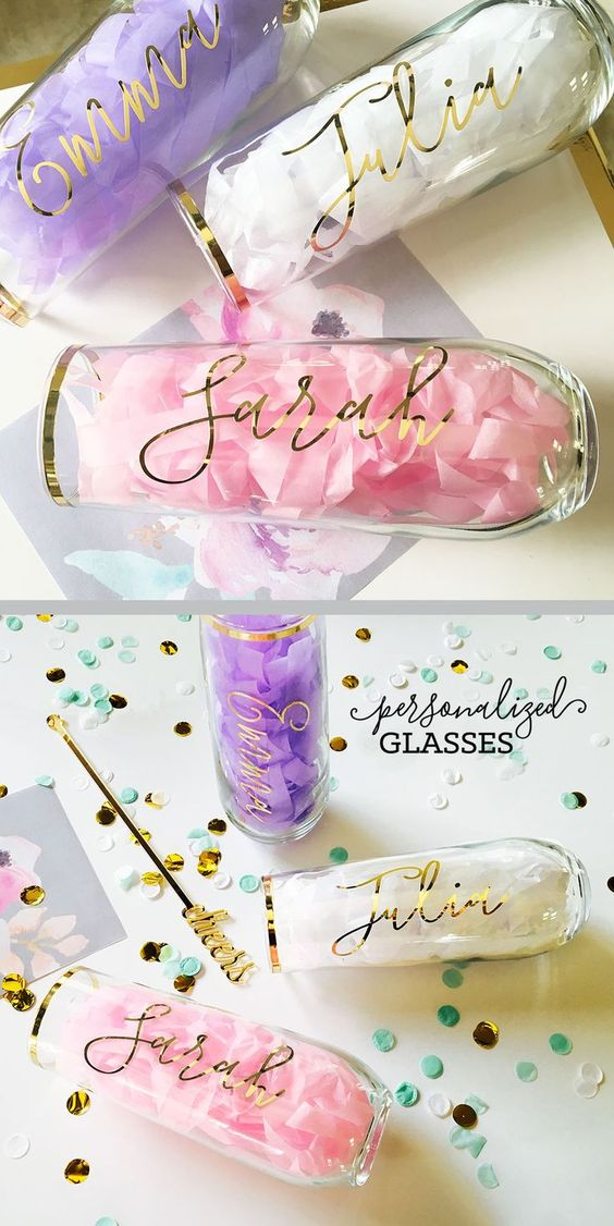 personalized champagne flutes bridal shower gift
