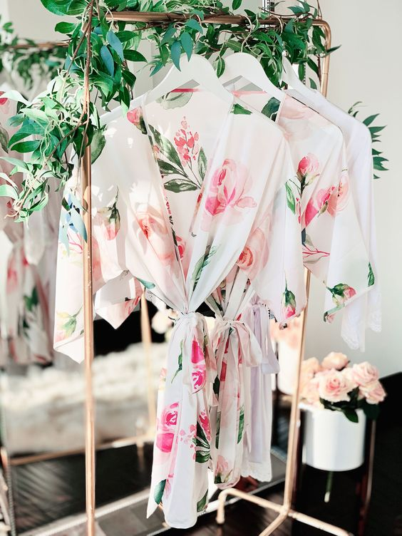 personalized lovely floral bidesmaid robes for bridal shower gift ideas