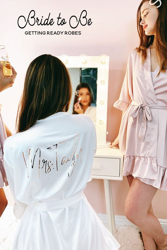 personalized lovely white ruffle bidesmaid robes for bridal shower gift ideas