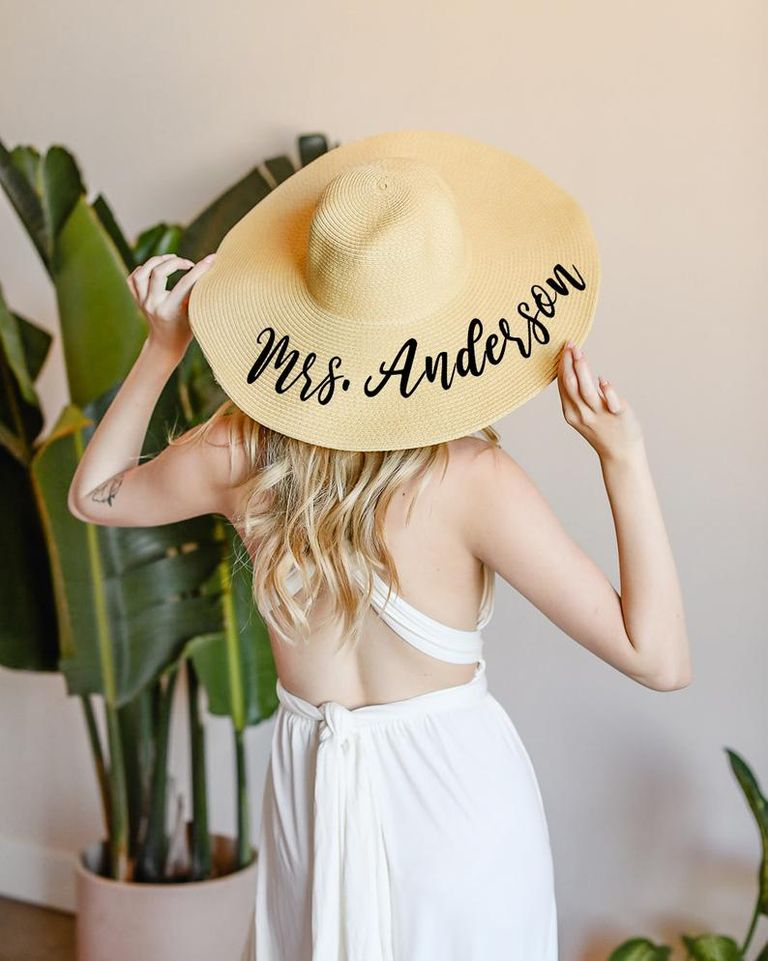 personalized sun hat perfect for bridal shower gift ideas