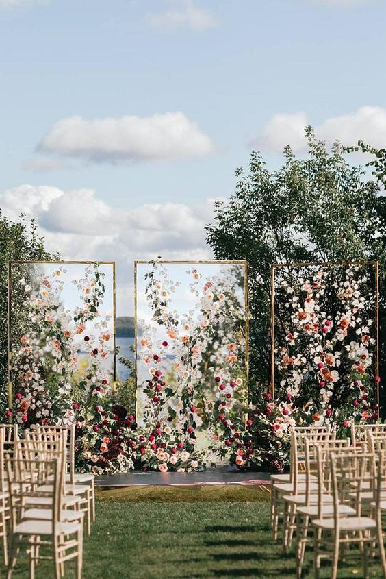romantic small intimate backyard wedding ideas with blush floral arch